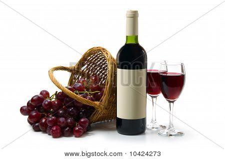 Dark Red Wine On White Back