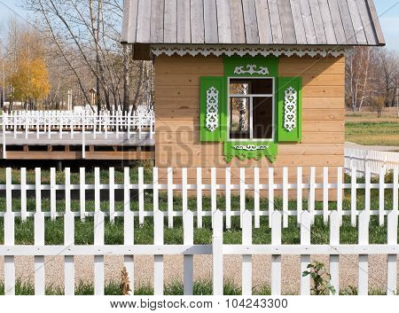 Wooden house for children to play.