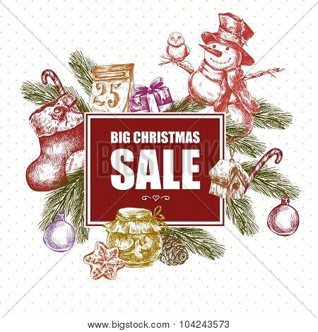 Big Christmas Sale, Vintage vector illustration