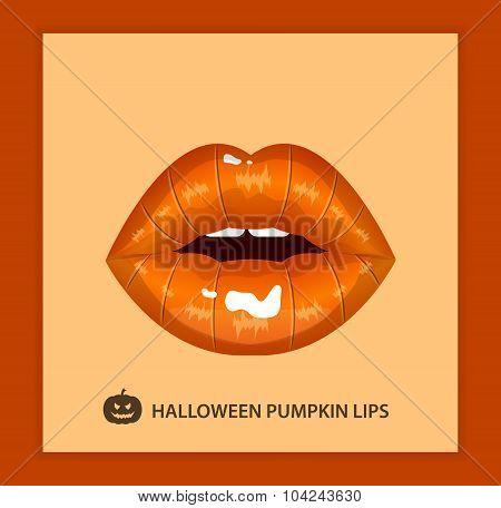 Halloween pumpkin sexy lips, lipstick, open mouth