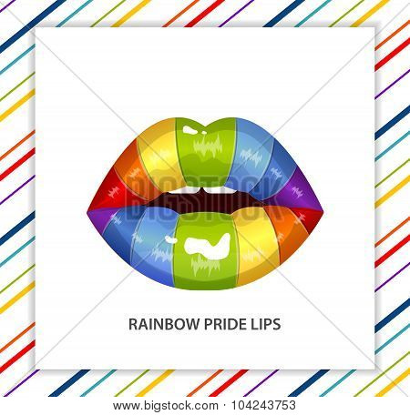 Rainbow sexy shining lips, lipstick, open mouth