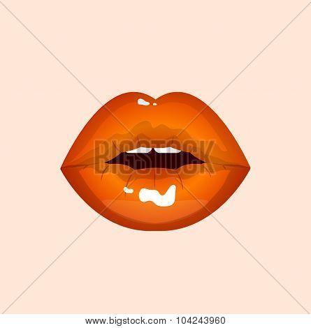 Orange sexy shining passion lips, lipstick,erotic open mouth