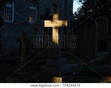 Stone Cross lit with morning sun
