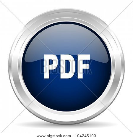 pdf cirle glossy dark blue web icon on white background