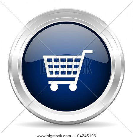 cart cirle glossy dark blue web icon on white background