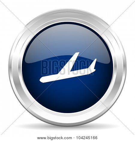 arrivals cirle glossy dark blue web icon on white background