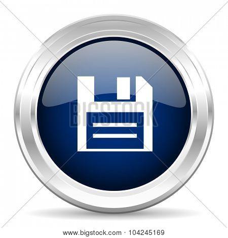 disk cirle glossy dark blue web icon on white background
