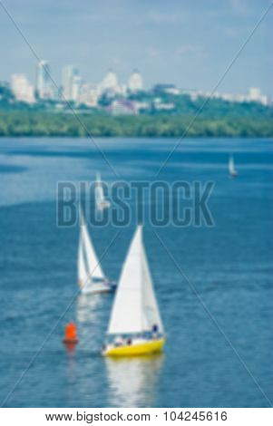 Defocused picture of summer landscape with Dnepr river