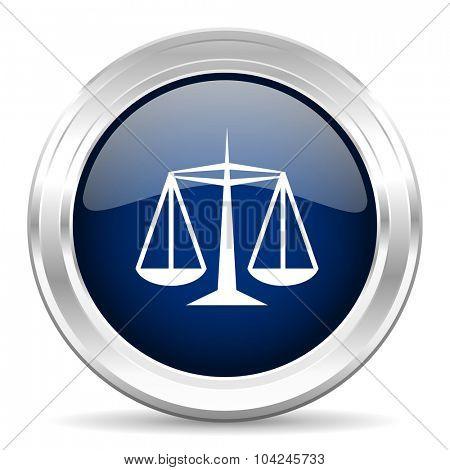 justice cirle glossy dark blue web icon on white background