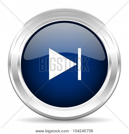 next cirle glossy dark blue web icon on white background