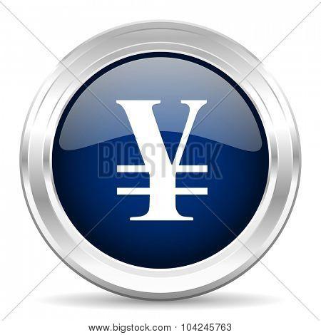 yen cirle glossy dark blue web icon on white background