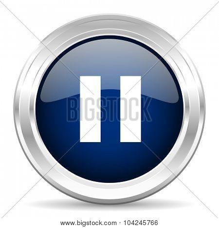 pause cirle glossy dark blue web icon on white background