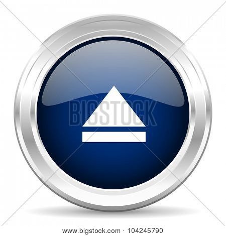 eject cirle glossy dark blue web icon on white background