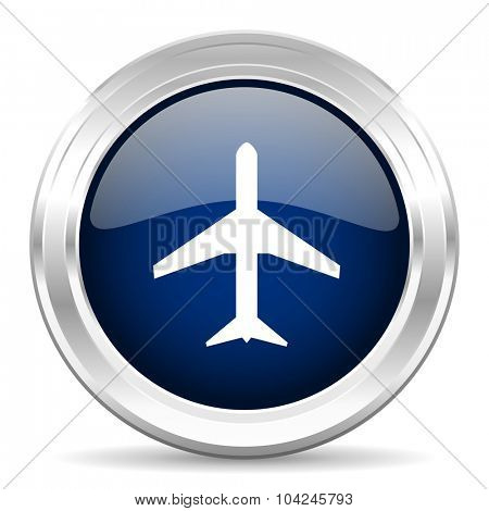 plane cirle glossy dark blue web icon on white background