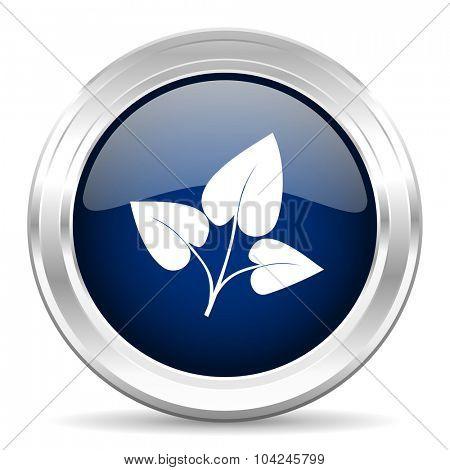 leaf cirle glossy dark blue web icon on white background