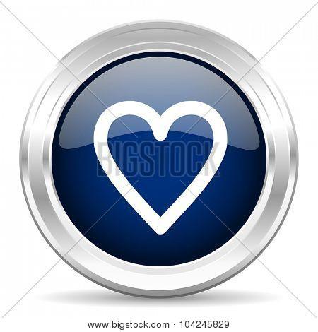 heart cirle glossy dark blue web icon on white background