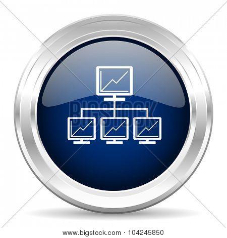 network cirle glossy dark blue web icon on white background