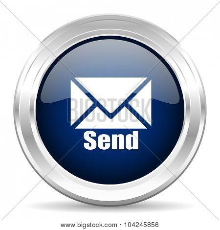send cirle glossy dark blue web icon on white background