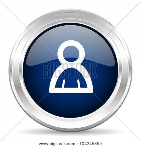 person cirle glossy dark blue web icon on white background