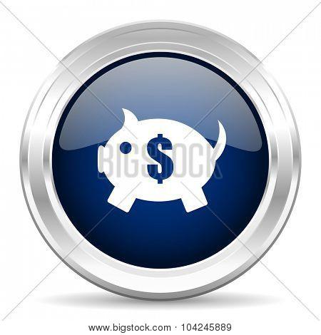 piggy bank cirle glossy dark blue web icon on white background