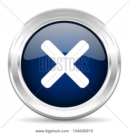 cancel cirle glossy dark blue web icon on white background