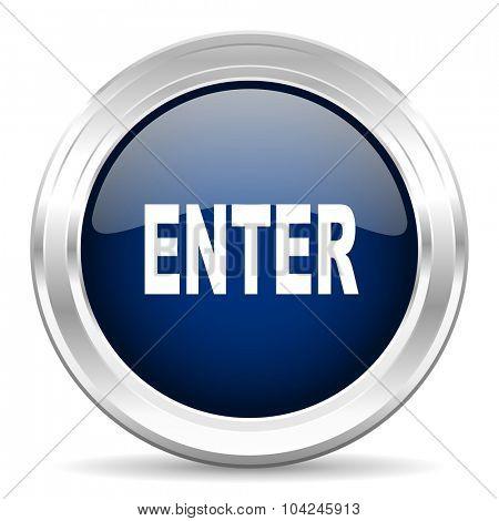 enter cirle glossy dark blue web icon on white background