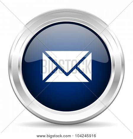 email cirle glossy dark blue web icon on white background