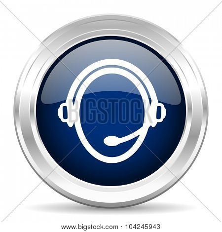 customer service cirle glossy dark blue web icon on white background
