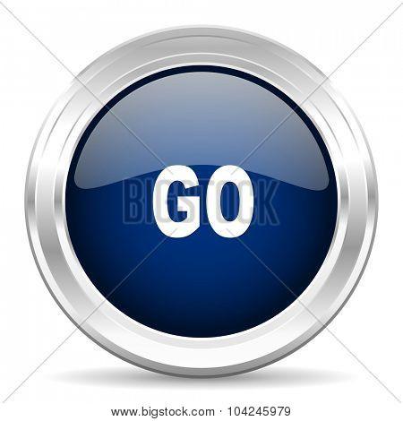 go cirle glossy dark blue web icon on white background