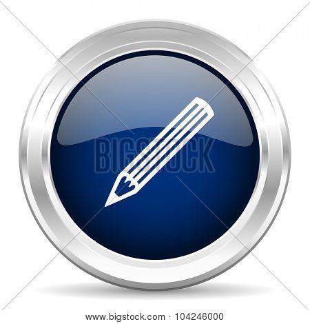 pencil cirle glossy dark blue web icon on white background