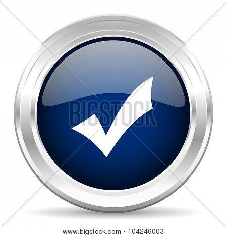 accept cirle glossy dark blue web icon on white background