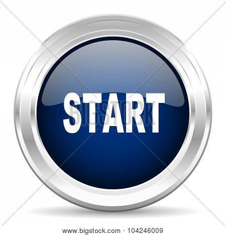 start cirle glossy dark blue web icon on white background