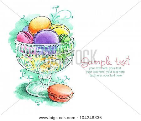 card with painted watercolor french dessert macaroons