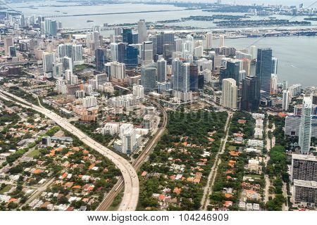 Aerial view of downtown Miami in the USA