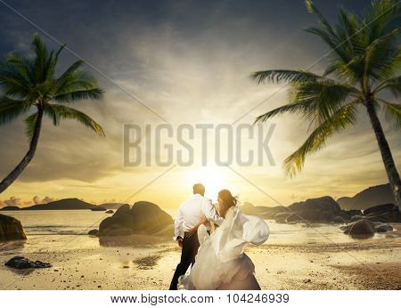 romantic mature couple on the tropical beach