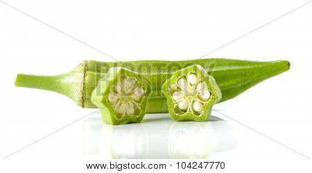 Okra On White Background.