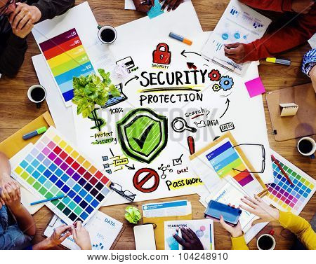 Ethnicity People Brainstorming Security Protection Creative Concept