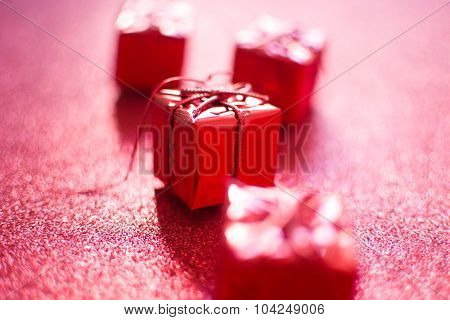 Red gift boxes with glitter