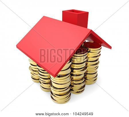 Gold coins under red house roof concept isolated on white background.