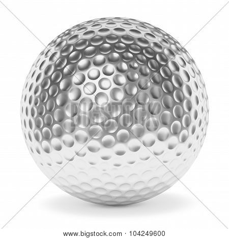 Silver Golf Ball Isolated On White