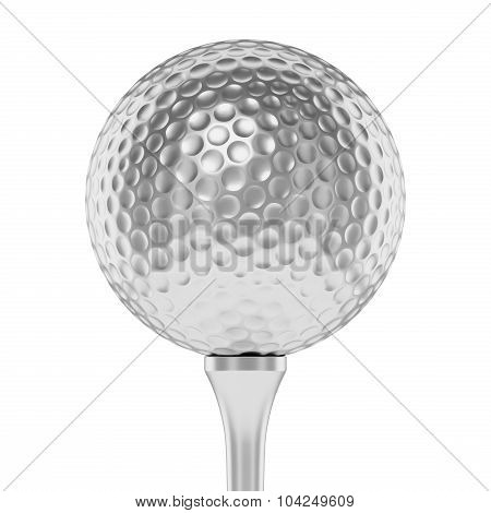Silver Golf Ball On Tee Closeup Isolated On White