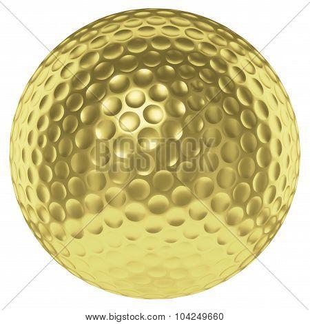 Golden Golf Ball Isolated On White
