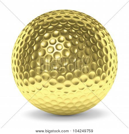 Golden Golf Ball With Shadow Isolated On White