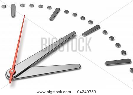 Simple Clock Face With Metal Hands And Marks Diagonal View