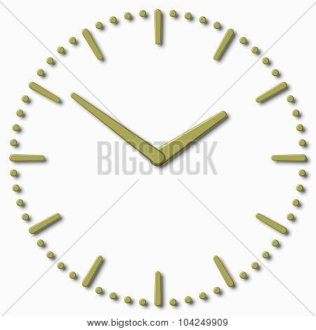 Simple Clock Face With Yellow Metal Hands And Marks