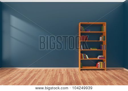 Minimalist Interior Of Empty Blue Room With Bookcase