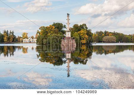 Chesme Column  And Grotto Pavilion In Catherine Park, Tsarskoye Selo Near St. Petersburg