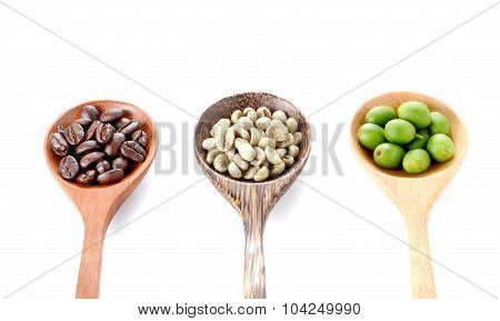 Fresh Coffee,roasted Coffee,wooden Spoon On White Background.