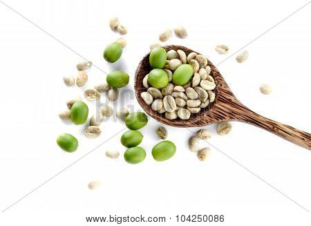 Fresh Coffee,wooden Spoon On White Background.