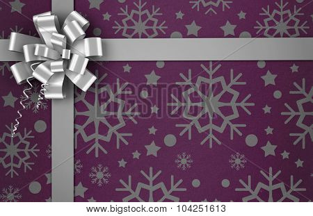 Digitally generated Christmas wrapping paper with bow